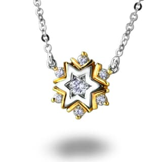 18k Two-tone Gold 1/6ct TDW Snowflake Diamond Necklace (G-H, SI1-SI2)