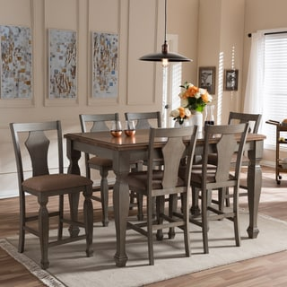 "Baxton Studio Amenophis Country Cottage Weathered Grey and ""Oak"" Brown 2-Tone Finishing Top 7-Piece Dining Set"