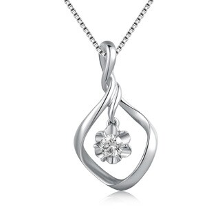 18k White Gold 1/5ct TDW Diamond Twisted Drop Flower Solitaire Pendant (K-L, SI1-SI2)