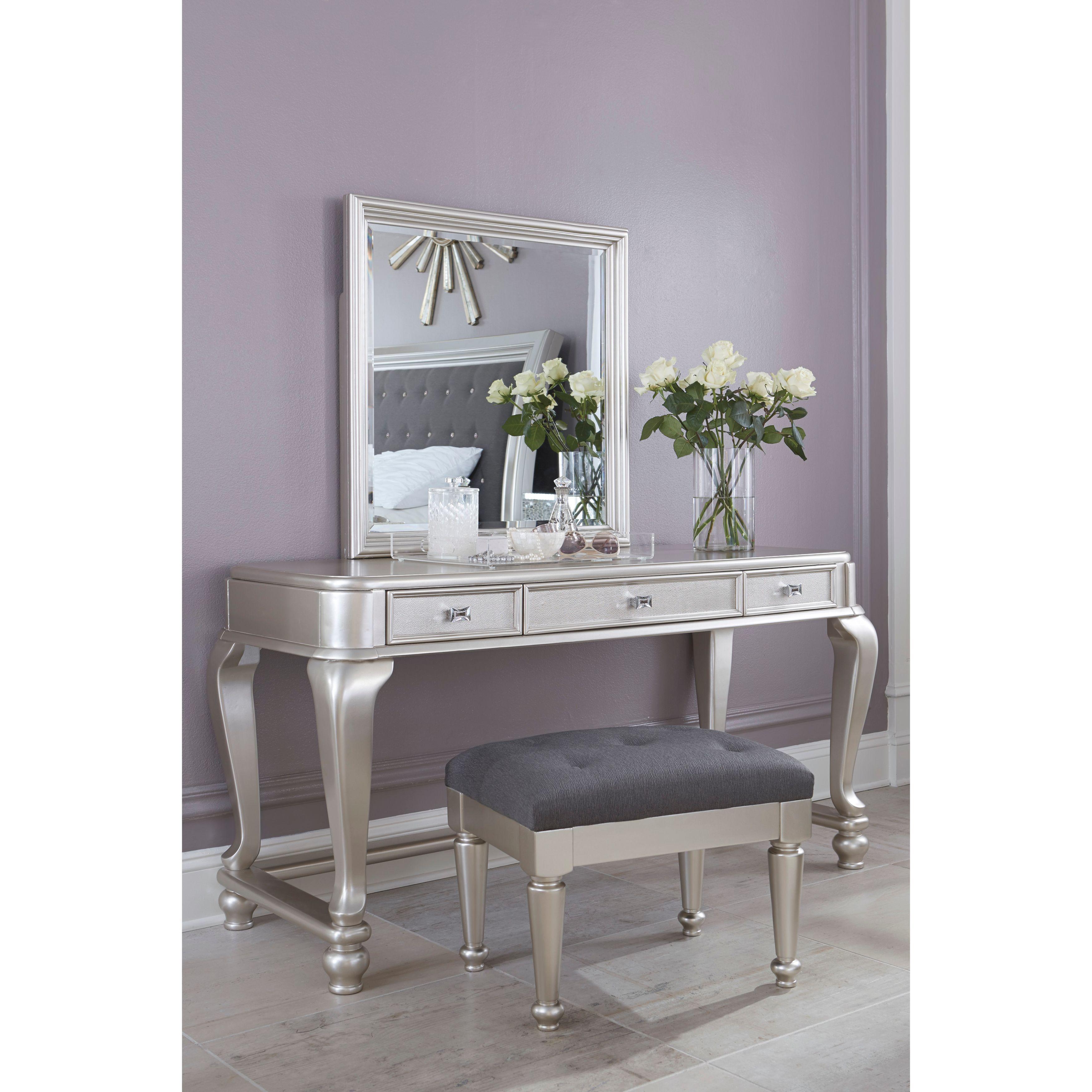 Ashley Coralayne Silver Upholstered Stool (Vanity set)