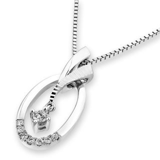 18k White Gold 1/2ct TDW Diamond Oval-shaped Pendant Necklace (G-H, SI1-SI2)
