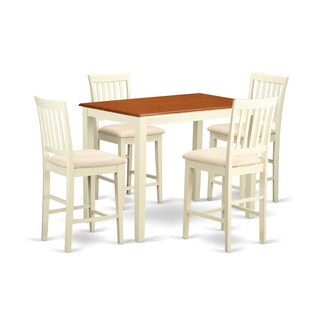 YAVN5-WHI Cream Rubberwood 5-piece Counter Height Dining Room Set