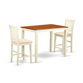 Cream Colored Rubberwood 3 Piece Counter Height Dining Table Set
