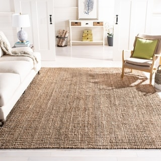 Safavieh Casual Natural Fiber Hand-Woven Natural / Grey Chunky Thick Jute Rug (6' Square)