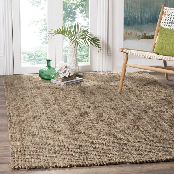 Safavieh casual natural fiber hand woven natural grey for Thick area rugs sale
