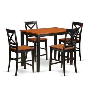 Solid Rubberwood 5-piece Counter-height Dining Table Set