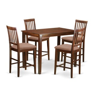 Natural Mahogany Solid Rubberwood 5-piece Counter-height Dining Set
