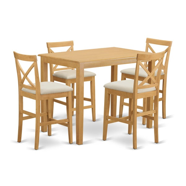 natural solid wood 5 piece counter height dining set free shipping