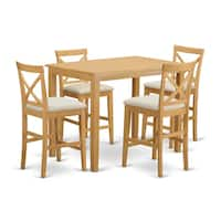 Natural Solid Wood 5-piece Counter Height Dining Set