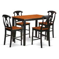 Black/Brown Rubberwood 5-piece Counter-height Table and Chair Set