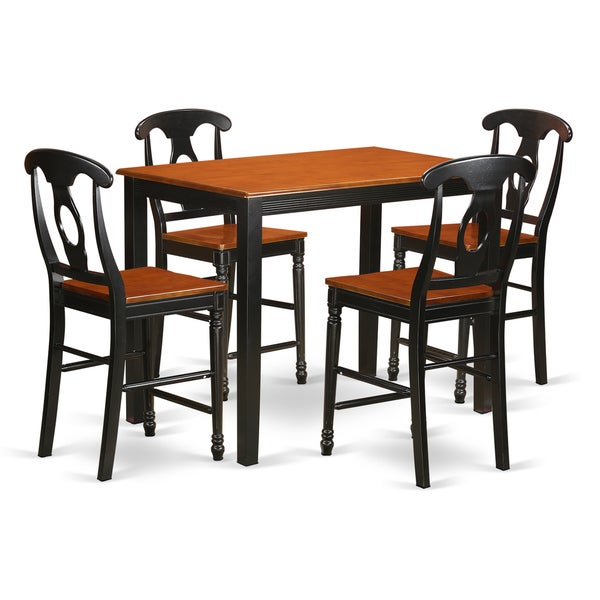 shop black brown rubberwood 5 piece counter height table and chair set free shipping today. Black Bedroom Furniture Sets. Home Design Ideas