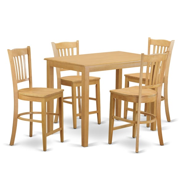 cream natural solid wood 5 piece counter height dining set free