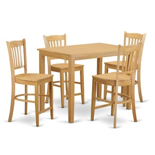 Cream/Natural Solid Wood 5-piece Counter Height Dining Set