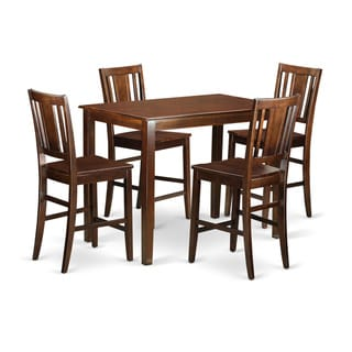 Brown Solid Wood 5-piece Counter Height Dining Table Set