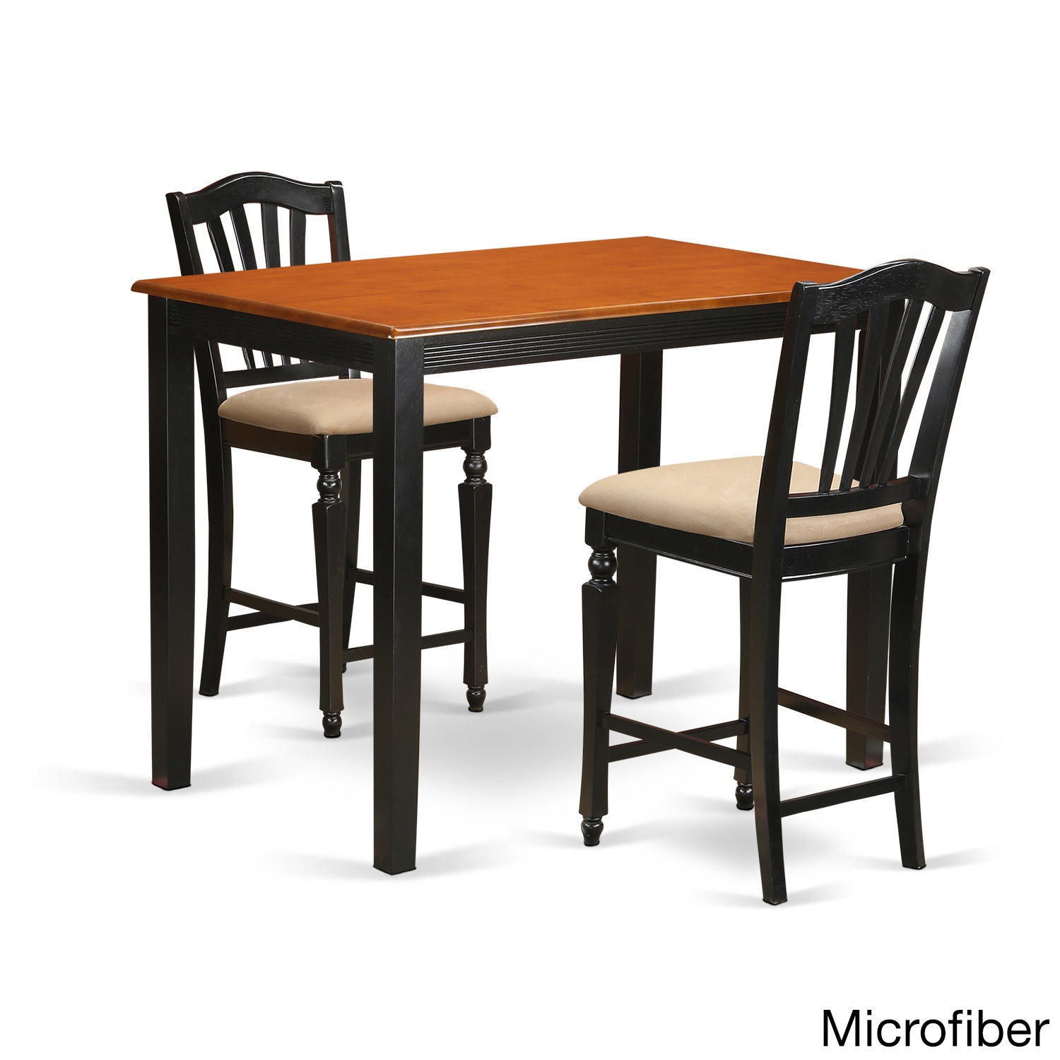 Black/Cherry Solid Wood 3-piece Counter Height Dining Set...