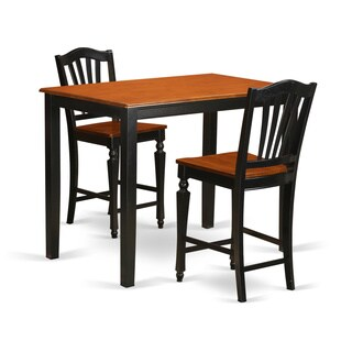Black/Cherry Solid Wood 3-piece Counter Height Dining Set
