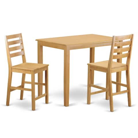Natural/Beige-finished Solid Wood 3-piece Counter-height Table and Chair Set
