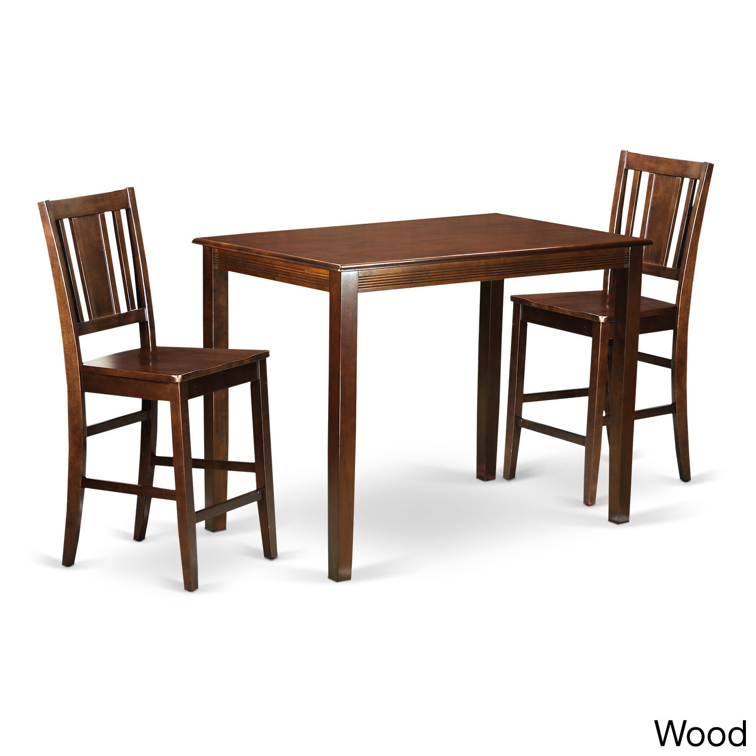 Brown Wood 3 Piece Counter Height Dining Set Mahogany