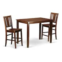 Brown Wood 3-piece Counter-height Dining Set