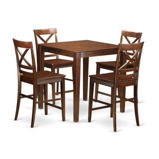 VNQU5-W Mahogany Rubberwood Five-piece Counter-height Dining Table Set With Four Chairs