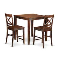 Solid Rubberwood 3-piece Counter-height Dining Set