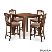 Brown Solid Wood 5-piece Counter Height Pub Set
