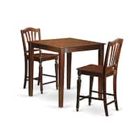 Brown Solid Rubberwood 3-piece Counter Height Dining Set