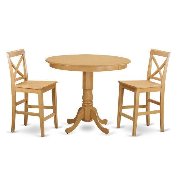 natural beige solid wood 3 piece counter height pub dining set free