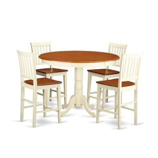 Cream Solid Rubberwood 5-piece Counter-height Dining Table Set