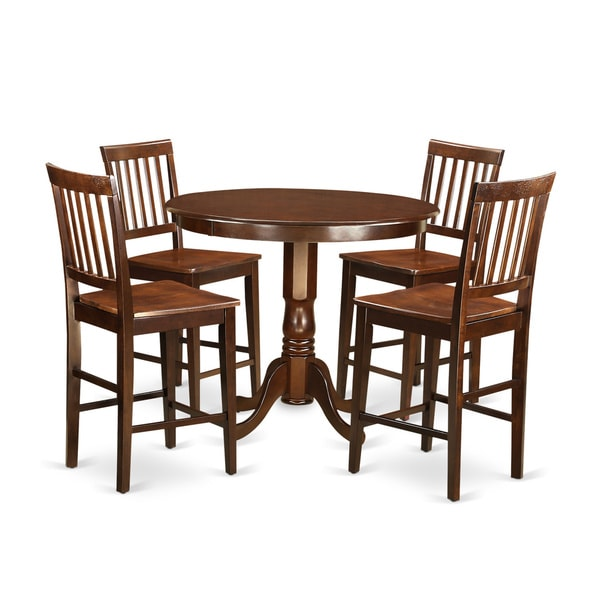 Charmant Brown Solid Wood 5 Piece Counter Height Dining Set