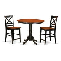 Rubberwood 3-piece Counter-height Pub Set