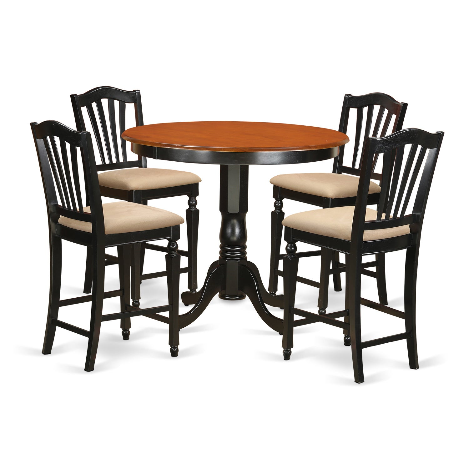 Black Solid Wood 5 Piece Counter Height Pub Dining Table And Ebay