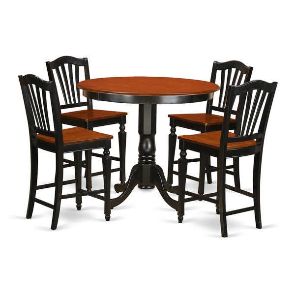 Shop Black Solid Wood 5-piece Counter Height Pub Dining