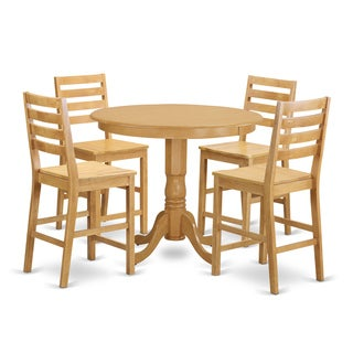Rubberwood Solid 5-piece Counter-height Pub Dining Set