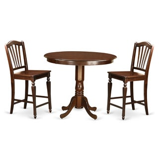 Brown Solid Wood 3-piece Pub Table Set