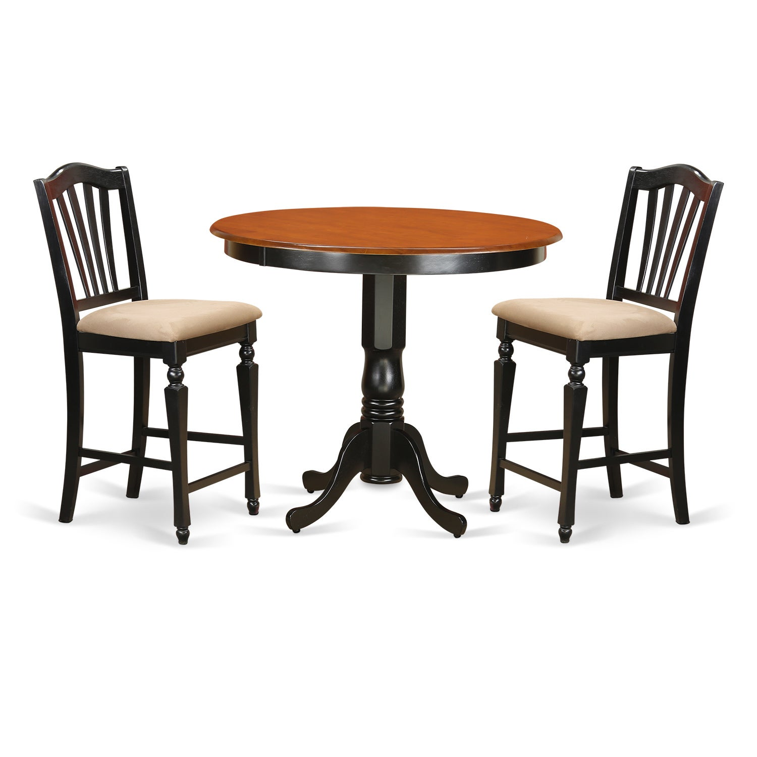 Black Solid Wood 3-piece Counter Height Pub Set (Microfiber)