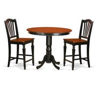Black Solid Wood 3-piece Counter Height Pub Set
