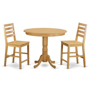 Natural and Beige Finish Solid Wood 3-piece Counter-height Dining Set