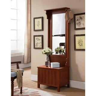 K&B Furniture Walnut Wood Hallway Storage Bench