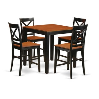 PBQU5-W Black/Natural Rubberwood 5-piece Pub Table Set