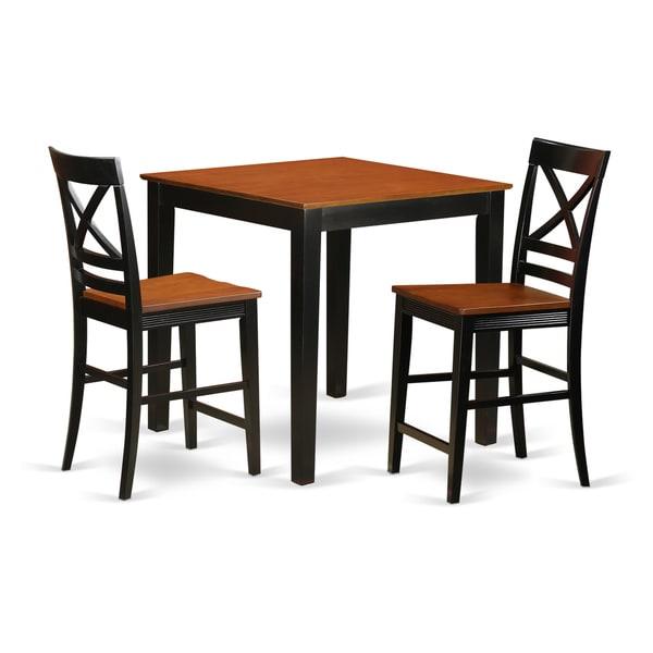 Shop Black Natural Beige Rubberwood 3 Piece Pub Table Set