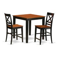 Black/Natural/Beige Rubberwood 3-piece Pub Table Set
