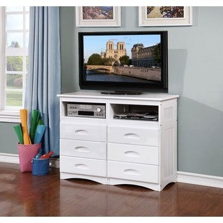 White Entertainment Dresser with Six Drawers