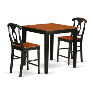 Black/Cherry Solid Rubberwood 3-piece Counter-height Dining Set