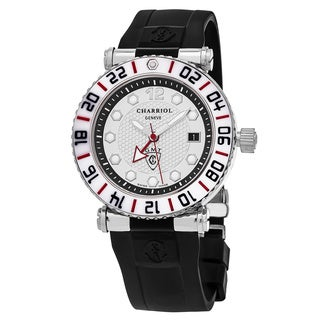 Charriol Men's RT42GMTW142G02 'Rotonde' Silver Dial Black Rubber Strap Swiss Quartz Watch