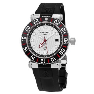 Charriol Men's RT42GMTB142G02 'Rotonde' Silver Dial Black Rubber Strap Swiss Quartz Watch