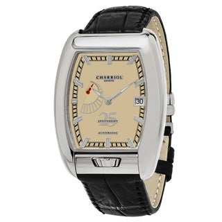Charriol Men's C25PR791005 'MD52' Ivory Dial Black Leather Strap Anniversary Swiss Automatic Watch