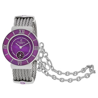 Charriol Women's ST30SP560015 'St Tropez' Purple Mother of Pearl Dial Stainless Steel Swiss Quartz Watch
