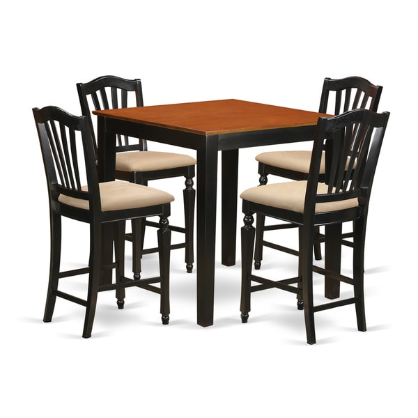 Black Solid Rubberwood 5 Piece Counter Height Pub Set