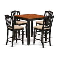 Black Solid Rubberwood 5-piece Counter-height Pub Set